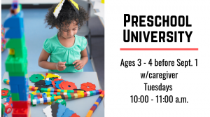 preschool university infographic with young girl using STEM toys