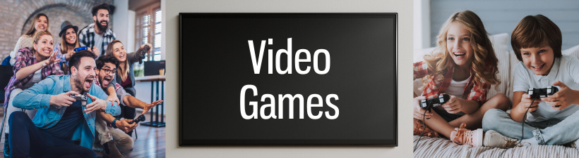 video games page header with groups playing video games