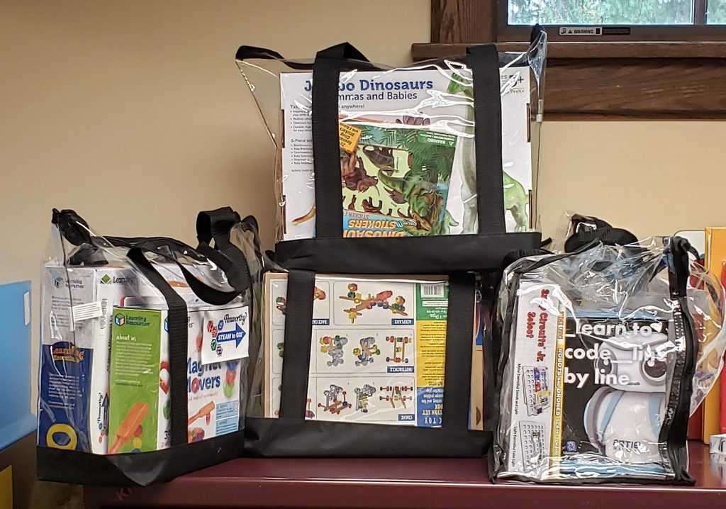 STEAM kits in tote bags