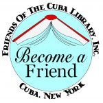friends of the Cuba library, Inc. open book logo. Become a friend.