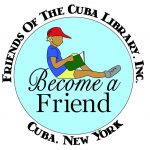 friends of the Cuba library, Inc. child reading logo. Become a friend.
