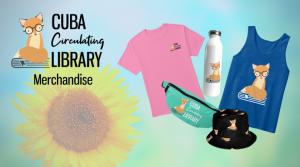 Cuba Library Logo Merchandise t-shirt, tank top, fanny pack, water bottle, and bucket hat